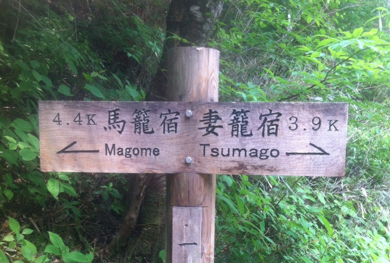 A signpost reading Magome and Tsumgao