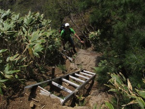 A man approaches a ladder on a hillside