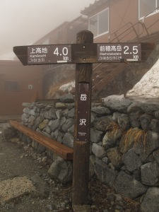 Wooden signpost in front of a mountain hut